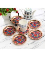 India Circus Red Blooms Coaster Set of 6