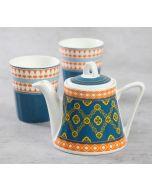 India Circus Swirling Safari Tea Kettle Set