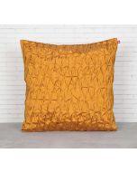 India Circus Yellow Pucker Satin Blend Cushion Cover