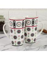 India Cirucs Appliqued Harmony Conical Mug (Set of 2)