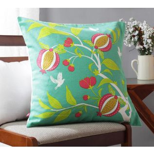 India Circus Fruits of The Tropic Green Cotton Cushion Cover