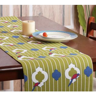 India Circus Peeking Parrots Bed and Table Runner