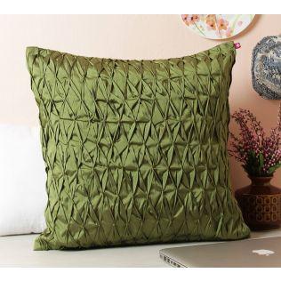 India Circus Green Pucker Satin Blend Cushion Cover