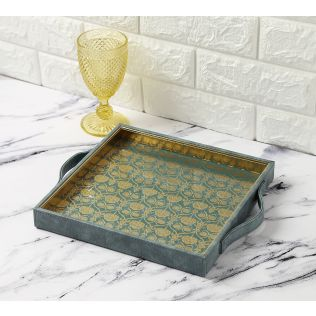 India Circus Baroque Print Leather Tray