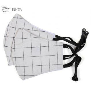 India Circus Beige and Black Checkered Cotton Mask