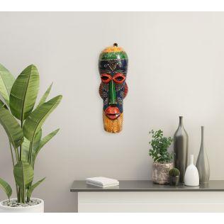 India Circus Blue & Yellow Gremlin Decorative Wooden Mask