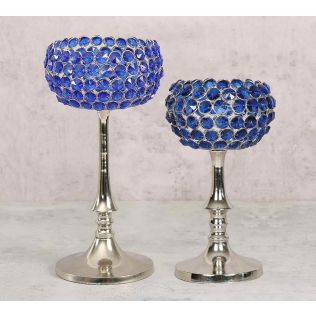 India Circus Blue Crystal Candle Holder Set of 2
