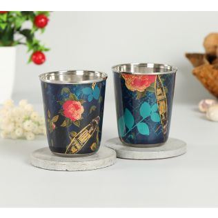 India Circus Blue Floral Lake Inception Small Steel Tumbler (Set of 2)