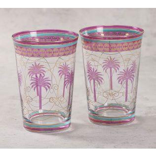India Circus Blushed Palmeria Glass Tumbler Set of 2