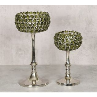 India Circus Olive Crystal Candle Holder Set of 2
