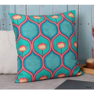 India Circus Entangled Lotus Canvas Cushion Cover