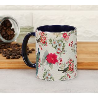 India Circus Feathered Garden Beige Coffee Mug