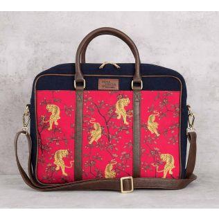 India Circus Ferocious Feline Denim Laptop Bag