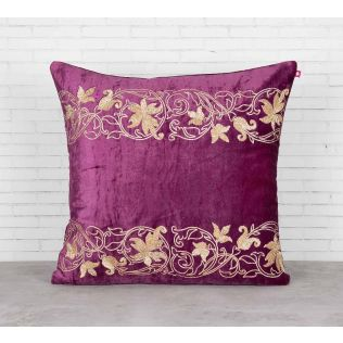 India Circus Floral Bandage Purple Embroidered Velvet Cushion Cover
