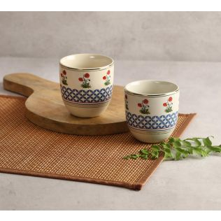 India Circus Flowers and Ferns Chai Kulhad (Set of 2)