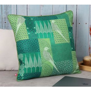 India Circus Geometrical Parrots Polyester Cushion Cover