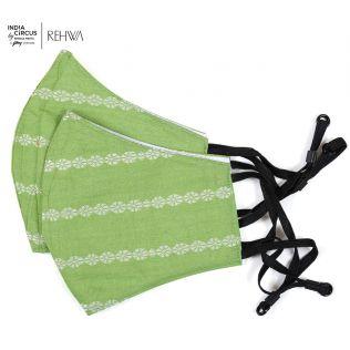 India Circus Lime Green Rui Phool Cotton Mask