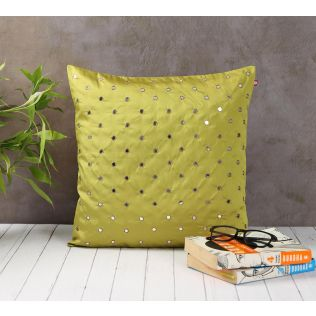 India Circus Mirror Work Olive Green Cushion Cover