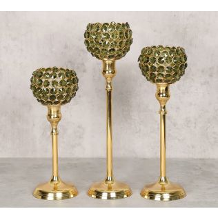 India Circus Olive Crystal Candle Holder Set of 3