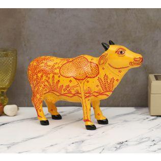 India Circus Pattachitra Art Tangerine Cow