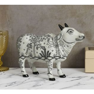 India Circus Pattachitra Art White Cow