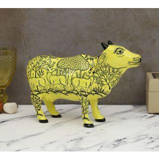 India Circus Pattachitra Art Yellow Cow