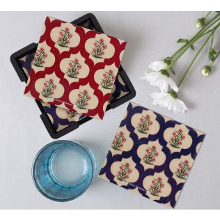 India Circus Poppy Flower MDF Table Coaster Set of 6