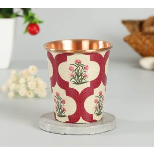 India Circus Poppy Flower Scarlet Small Copper Tumbler