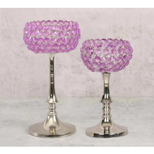 India Circus Purple Crystal Candle Holder Set of 2