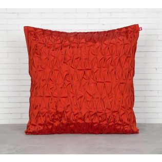 India Circus Red Pucker Satin Blend Cushion Cover