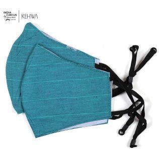 India Circus Royal Blue Textured Cotton Mask