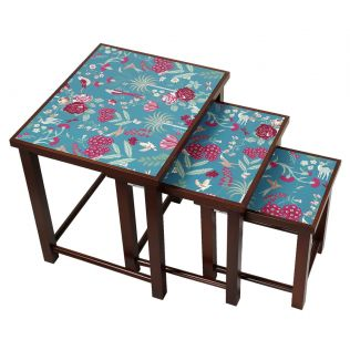 India Circus Teal Floral Galore Nested Table