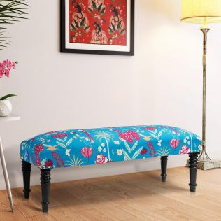 India Circus Teal Floral Galore Wooden Bench
