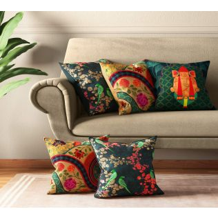 India Circus Temple Town Cushion Cover Set of 5