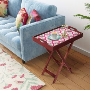 India Circus by Krsnaa Mehta Poppy Flower Scarlet Tray Table