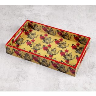India Circus Beige Mystic Rose Kettles Rectangle Serving Tray