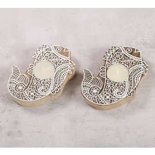 India Circus Fish Shaped Wooden Engraved Tea Light Holder Set of 2