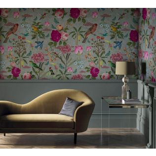 India Circus Grey Fluttering Feathers Envisage Wallpaper