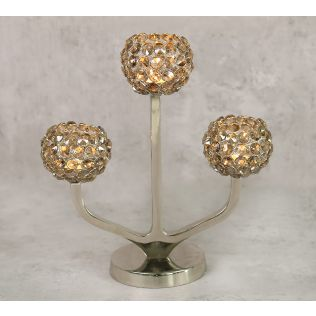India Circus Grey Globe Crystal Candle Holder