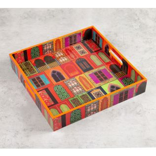 India Circus Mughal Doors Reiteration Square Tray