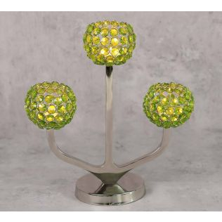 India Circus Olive Globe Crystal Candle Holder