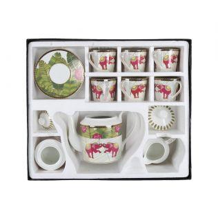 India Circus Tropical Tusker Tea Cup & Saucer Set of 17 pcs