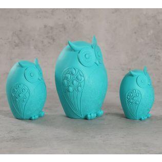 India Circus Turquoise Owls Figurine Set of 3
