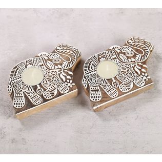 India Circus Tusker Shaped Wooden Engraved Tea Light Holder Set of 2