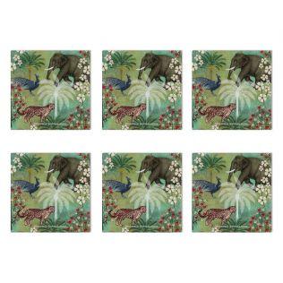 India Circus Wildlife Safari MDF Table Coaster Set of 6