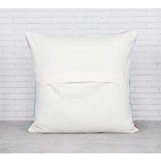 India Circus Yield of Divinity Blue Cotton Cushion Cover