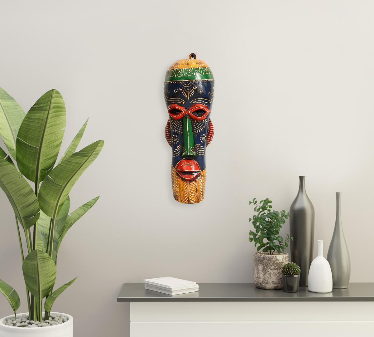 Blue&Yellow Gremlin Decorative Wooden Mask