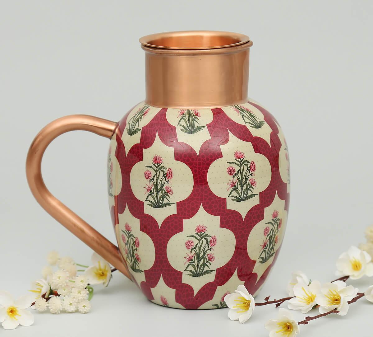 Poppy Flower Scarlet Copper Jug Set