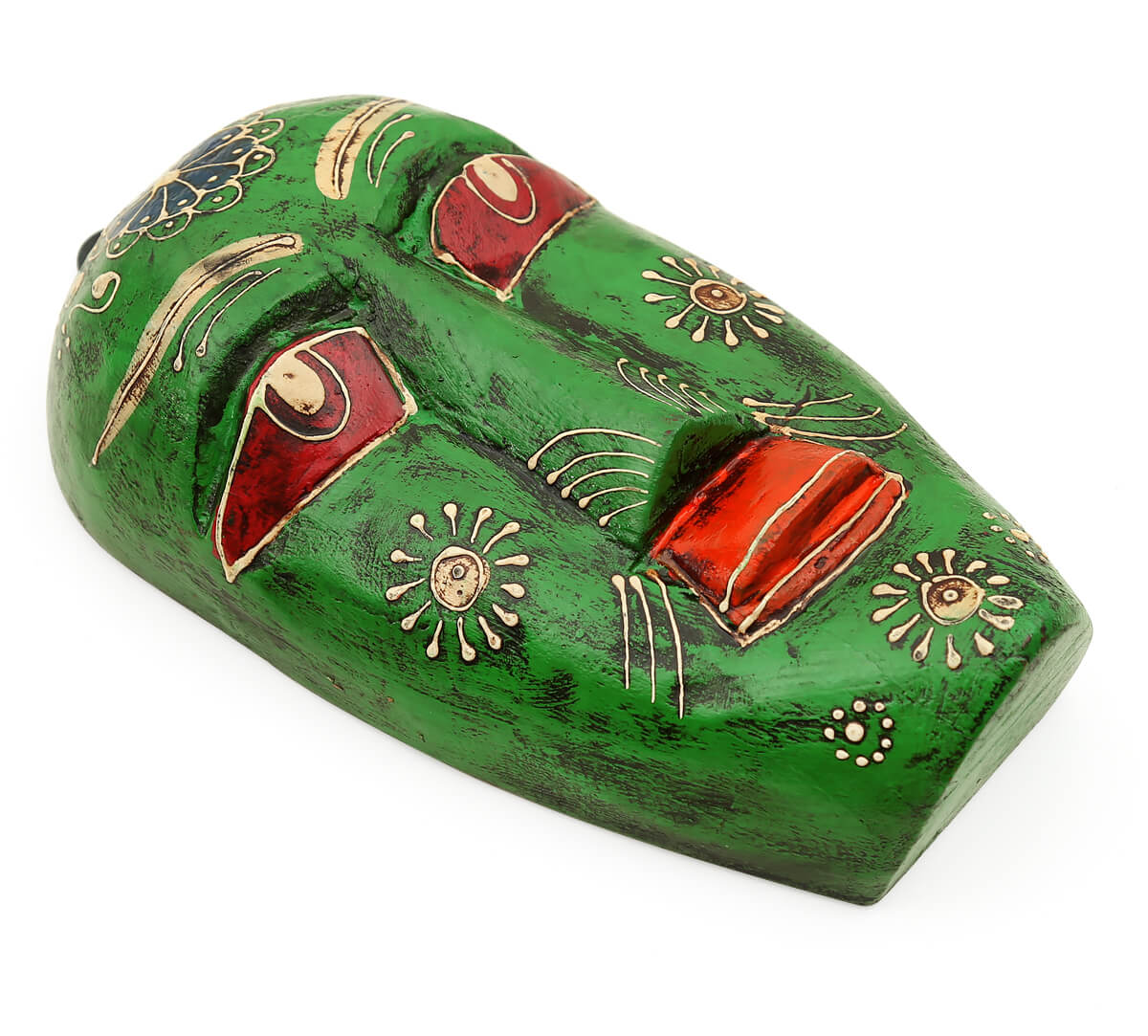 Olive Hobgoblin Decorative Wooden Mask