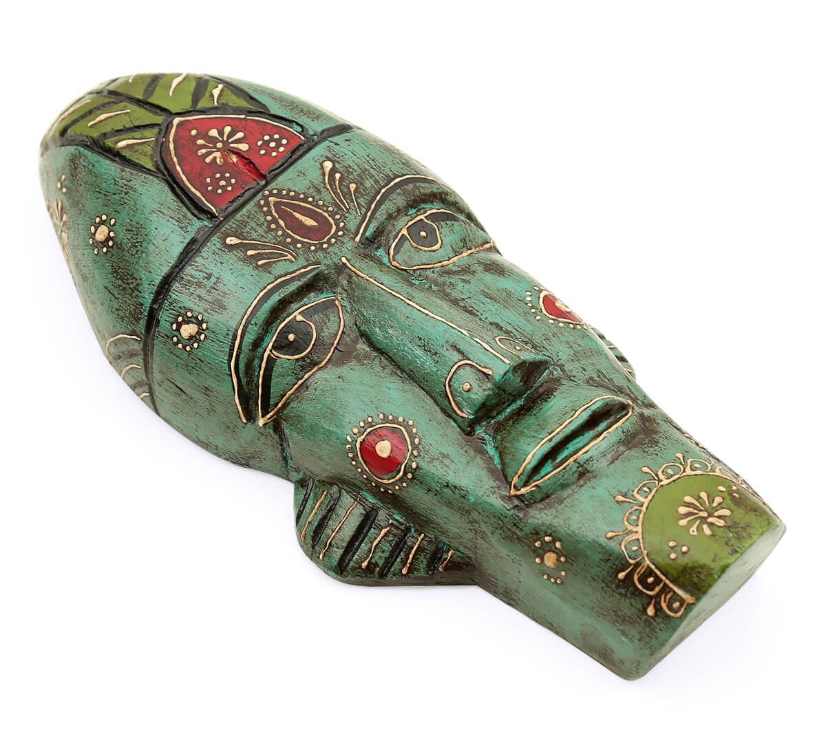 Teal Leprechaun Decorative Wooden Mask